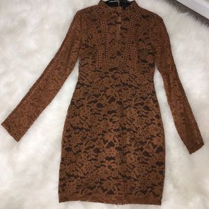 Long Brown Sleeve Lace Dress